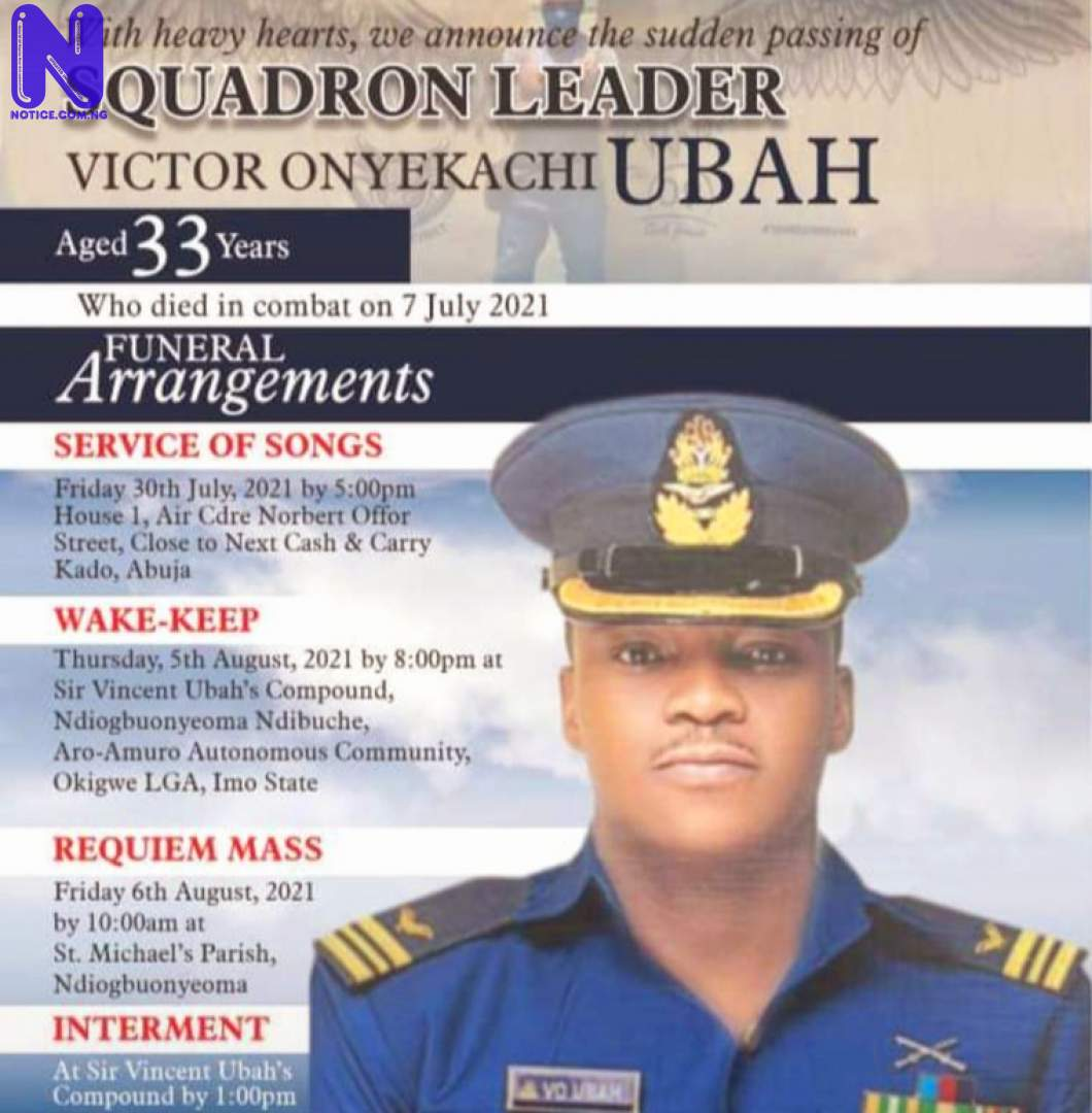 Victor Ubah, Nigerian Air Force officer killed by bandits for burial IMG-20210730-WA0135148477