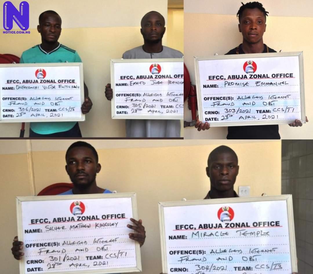 EFCC arrests 5 suspected internet fraudsters in Abuja, 18 in Lagos KVS2SPXW