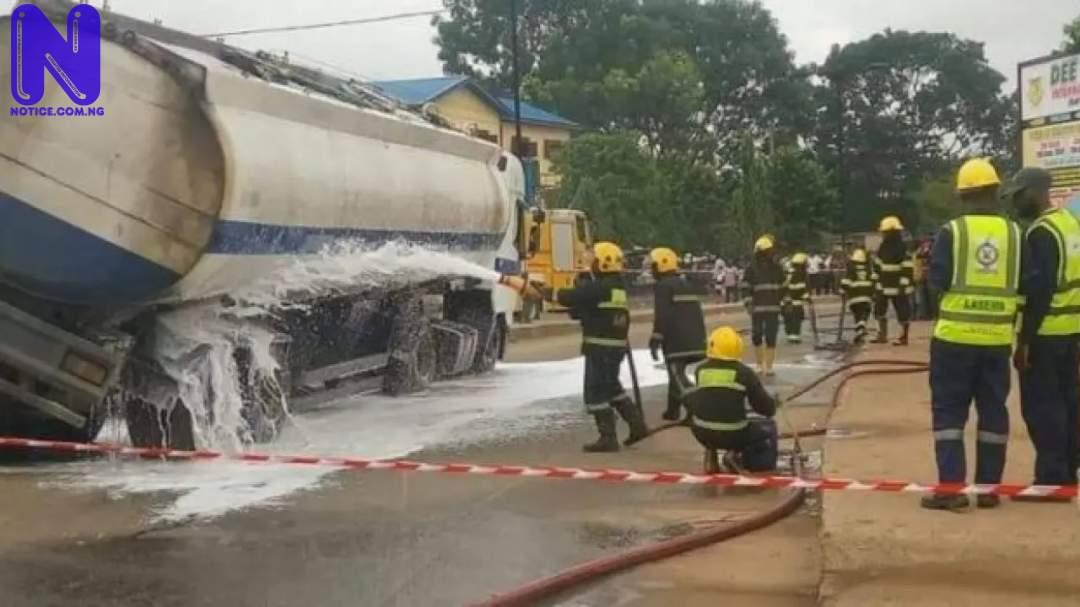 Oil tanker crashes into two trucks as brake fails - Lagos PETROL-TANKER-768X405