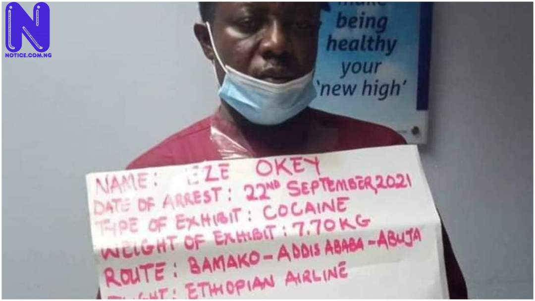 NDLEA arrests trafficker with N2.3b cocaine at Abuja Airport PJIMAGE-13-2108381