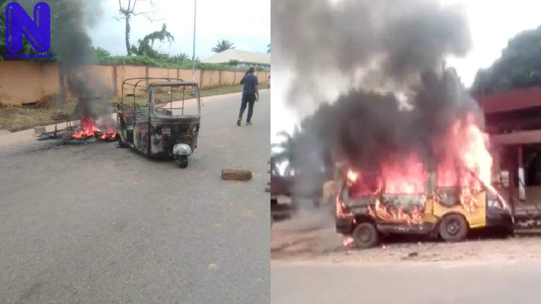 Suspected IPOB members set tricycle, passenger bus ablaze in Anambra - Sit-at-home PJIMAGE-19-1147374