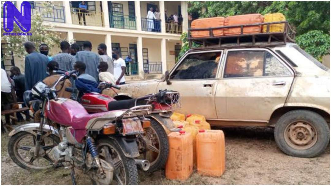 Smugglers use Peugeot 504 to smuggle 250 litres of fuel to bandits in Katsina forest PJIMAGE-23242381