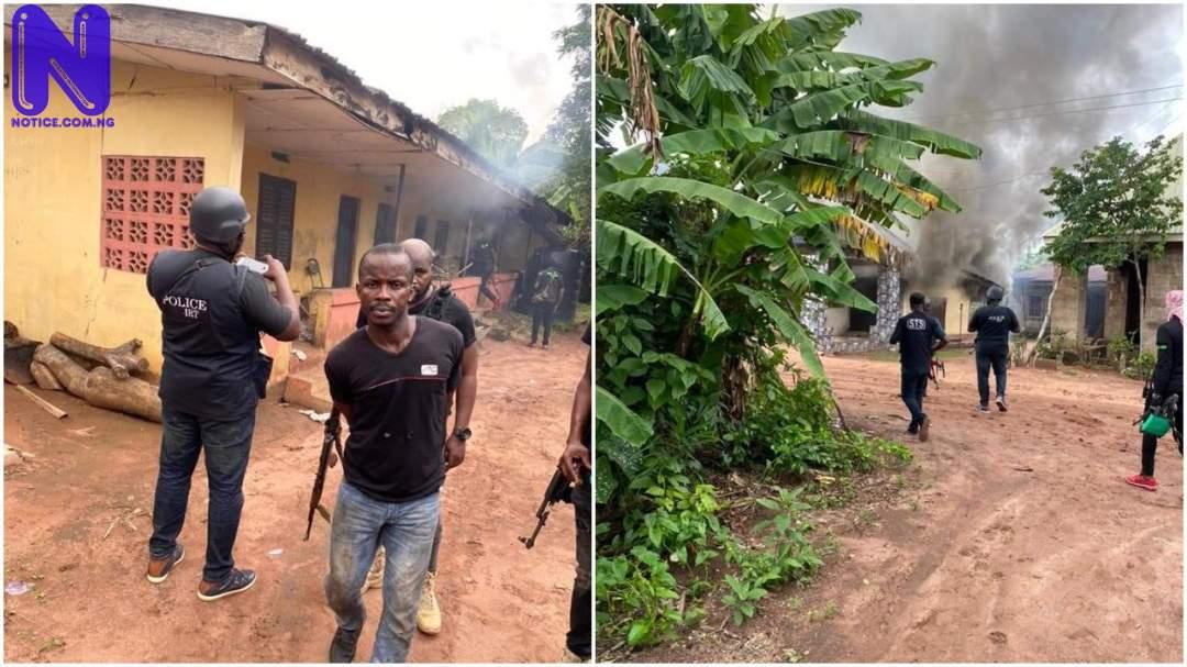 Police dislodge ESN camp in Imo, set buildings ablaze (photo) YH3ISPZQ